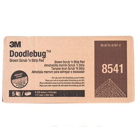 "8541 Brown 10/"" x 4/"" x 1/""  5 Per Box 3M Doodlebug Scrubbing and Stripping Pad"