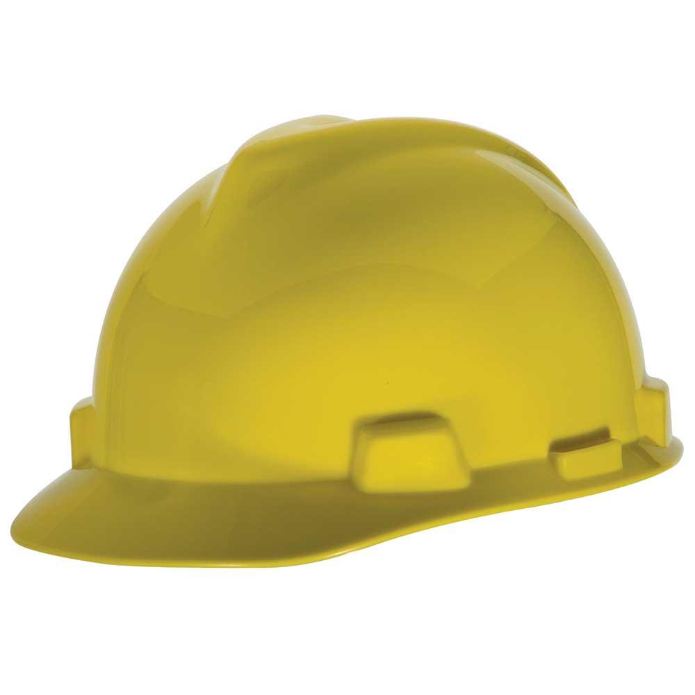 MSA V-Gard® Hard Hat Adjustable Staz-On® Suspension Slotted