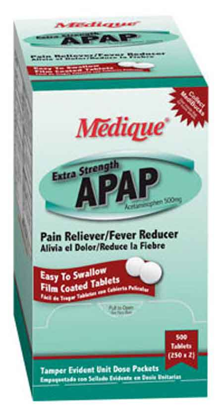 Extra Strength APAP Acetaminophen 500mg Tablets Medique® 17513