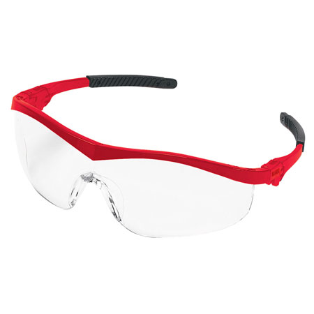 MCR Safety ST130 Storm Safety Glasses, Red Frame,