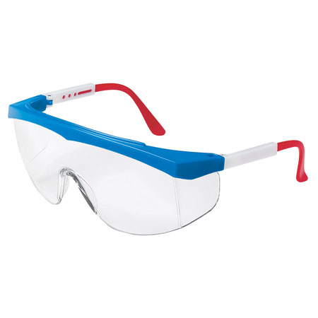 MCR Safety SS130 Stratos Safety Glasses, Red/White/Blue Frame