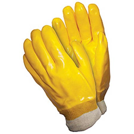 Supported / Dipped Gloves, White / Yellow, PVC,