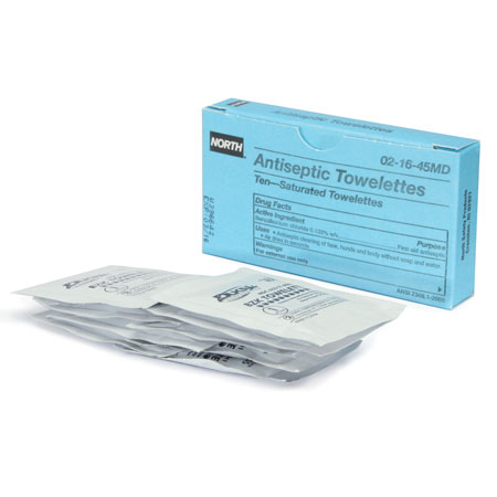 Honeywell NORTH® 021645MD Antiseptic Wipes, Box, Benzalkonium Chloride