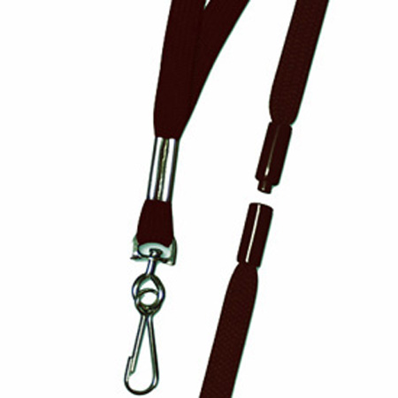 Breakaway Badge Lanyard, Swivel Hook, Woven Nylon, Maroon,