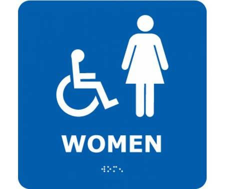 Women And Wheelchair Symbol Bathroom Sign Styrene Plastic PVC