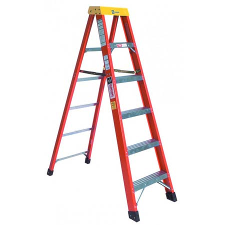 Step Ladder, Aluminum, Copolymer (Top), 7 ft 6 in, 5, 300 lbs, 3.16 in, 28.25 in, 10 ft, 86 in, Fiberglass, Red, Type IA, Assembled, ANSI A14.5, OSHA, Light Weight, One WayStep Ladder, Aluminum, Copolymer (Top), 7 ft 6