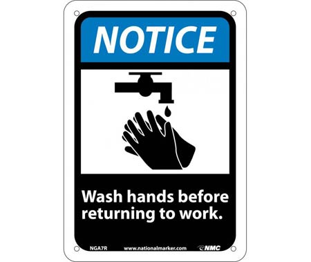 Notice Wash Hand Before Returning To Work Sign,