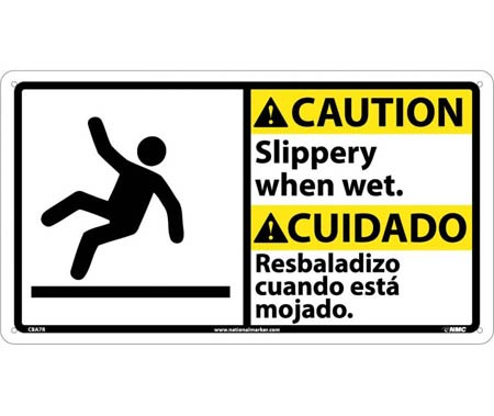 Caution Slippery When Wet Sign Bilingual Rigid Plastic 10