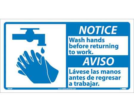 Bathroom Signs Wash Hands notice wash hands before returning to work sign, bilingual