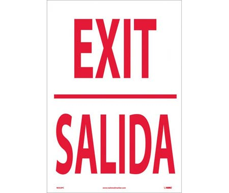 Exit Sign, Bilingual, Vinyl
