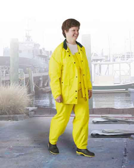 Rain Jacket, Nylon on Polyurethane, Yellow, Storm Flap