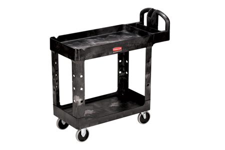 Rubbermaid 4500-88 Utility Cart Two Lipped Shelves Black 500lb CapRubbermaid 4500-88 Utility Cart Two Lipped Shelves Black