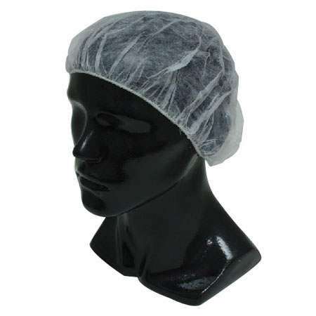 "24"" White Clean Room Bouffant Cap Pleated Universal"