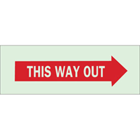 BradyGlo™, Exit Sign, English, THIS WAY OUT, Polyester,