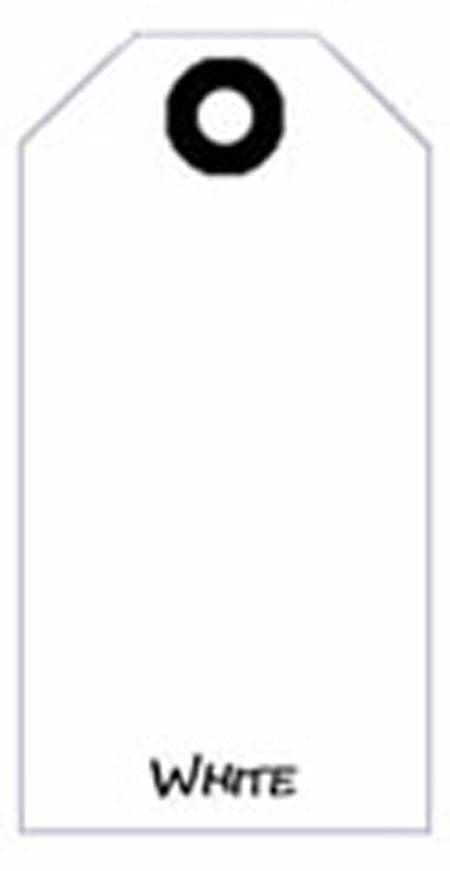 Blank Tag, Coated Sulfite, White, 4-3/4 in, 2-3/8