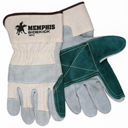 Side Kick®, Leather Palm Gloves, Cowhide, Split, Leather,