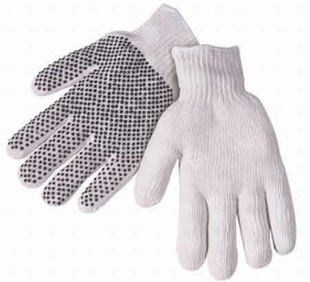 Coated Knit Gloves, Cotton / Polyester, White /