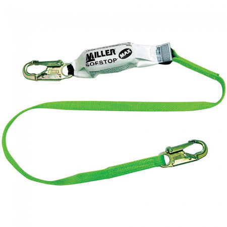 Miller®, Shock Absorbing Lanyard, Webbing, Green, 6 ft,