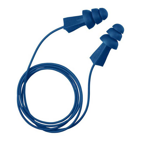 Tasco 9011 Tri-Grip Blue Corded Metal Detectable Earplugs Flange  27dBTasco 9011 Tri-Grip Blue Corded Metal Detectable Earplugs