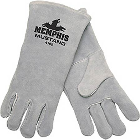 MUSTANG™, Welding Gloves, Leather, Gauntlet, Gray, X-Large