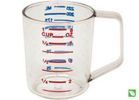 Bouncer®, Measuring Cup, Polycarbonate, 1 Cup, Clear, Graduated,