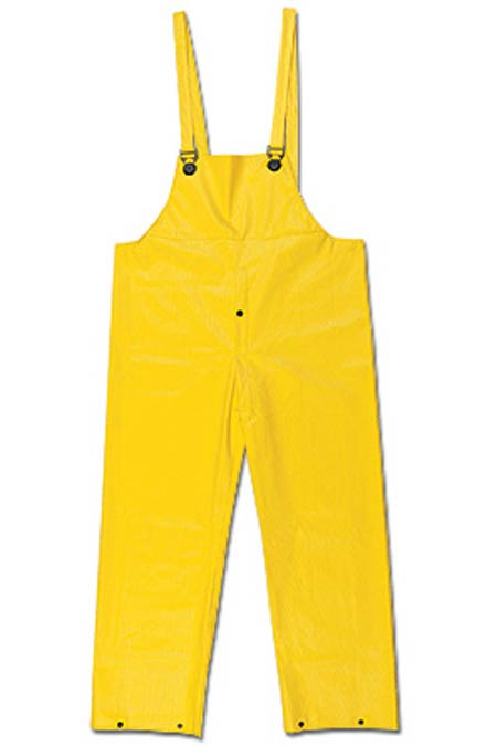 Bib Overall, PVC / Non-Woven Polyester, Yellow, X-Large,