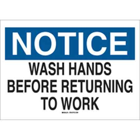 Personal Hygiene Sign, English, NOTICE - WASH HANDS