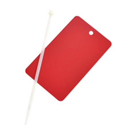 Write-On Tag, Metal, Red, 5 in, 3 in,