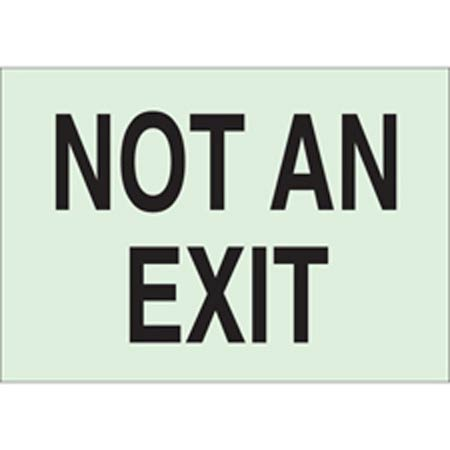 BradyGlo™, Exit Sign, English, NOT AN EXIT, Polyester,