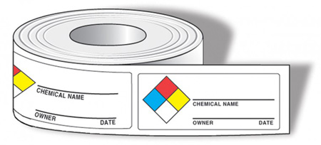 Chemical Labels, English, CHEMICAL NAME___OWNER___DATE___, Vinyl, Adhesive Backed,