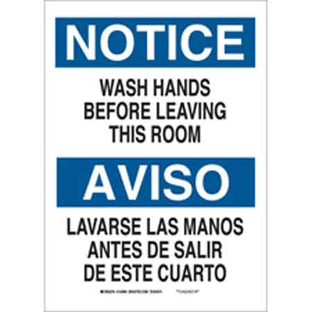 Bathroom Signs English And Spanish personal hygiene sign, english, spanish, notice/aviso -