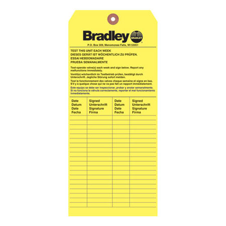 Bradley 204-421 Inspection Tag, English, Emergency, Black on