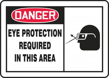Danger Eye Protection Required In This Area Sign,