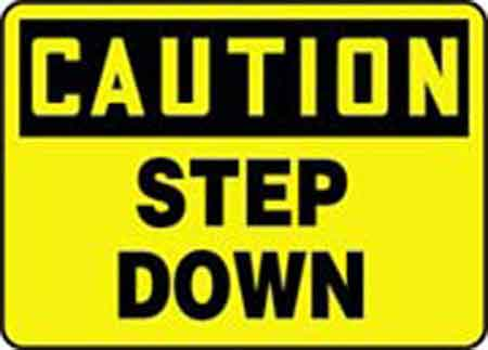 Caution Step Down Sign, Vinyl