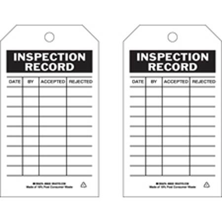 Inspection Tag, English, DATE BY ACCEPTED REJECTED, Polyester,