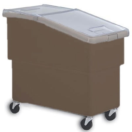Faribo K440C/A-2H-6 Brown High-Density Poly Sloped Mobile Bin 25 GalFaribo K440C/A-2H-6 Brown High-Density Poly Sloped Mobile Bin