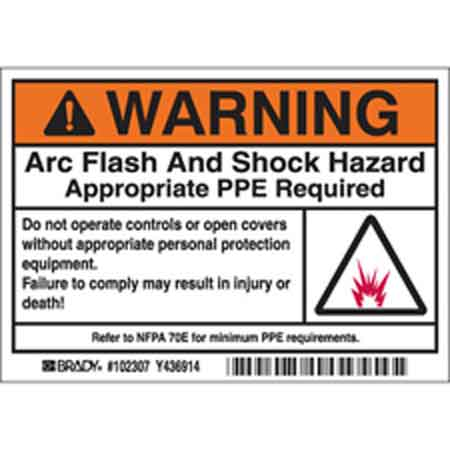 Arc Flash Labels, English, WARNING ARC FLASH AND