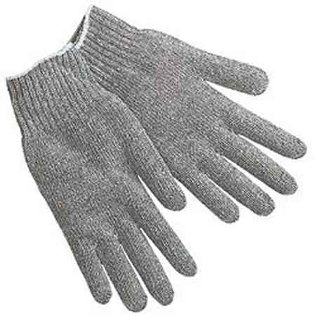 Multi-Purpose String Knit Gloves, Cotton Polyester Blend, Gray