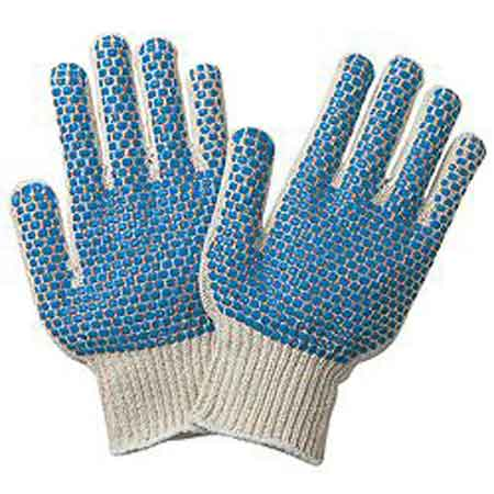String Knit Gloves, Cotton / Polyester, PVC