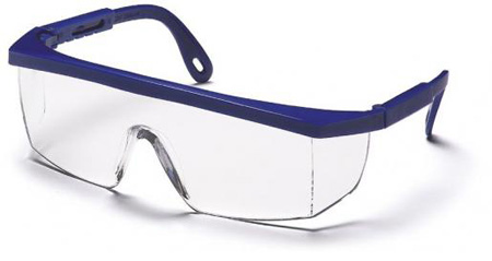 Safety Glasses, Polycarbonate, Clear, Scratch-Resistant, Framed, Blue