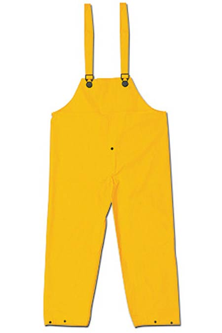 Bib Overall, PVC / Polyester, Yellow, 3X-Large, Welded