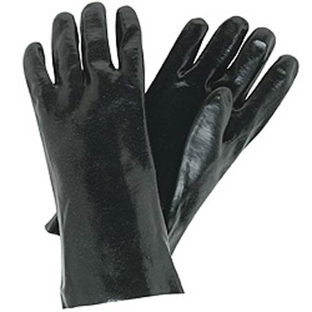 Supported Gloves, White / Black, PVC, 8 in,