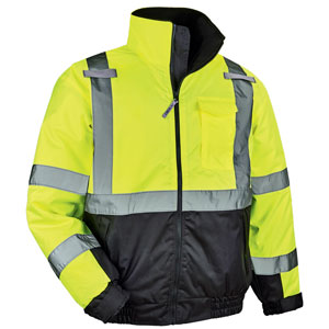 Ergodyne® GloWear® 8377 Lime Class 3 Quilted Bomber