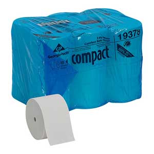 Compact® 19378 Bathroom Tissue, 100% Recycled Fiber, WhiteCompact® 19378 Bathroom Tissue, 100% Recycled Fiber, WhiteCompact®