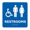 Bathroom Sign, English, Restrooms With Handicap, Styrene