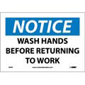 Notice Wash Hands Before Returning To Work Sign,