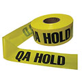 Barricade Tape, QA Hold, Yellow/Black, 1000ft x 3In