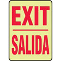 Exit Sign, English|Spanish, SIGN EXIT/SALIDA, Lumi-Glow Flex, Adhesive