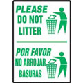Please Do Not Litter Sign, Bilingual, Aluma-Lite
