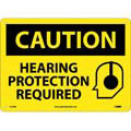 Caution Hearing Protection Required Sign, Rigid Plastic